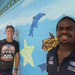 Tennant Creek Pool mural painting in progress