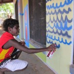 Yirrkala Youth Centre mural painting in progress