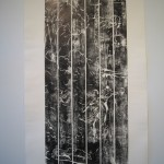 Print from picnic table (After Roberts), 2010, Relief ink on cotton rag, 85 x 165cm