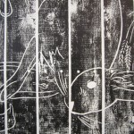 Print from picnic table (After Gould)(detail), 2010, Relief ink on cotton rag, 85 x 165cm