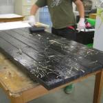 Picnic table printing in progress