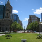 Picnic tables, 2010, Victoria Square, Adelaide
